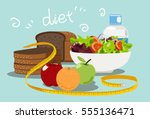 diet food for weight loss. | Shutterstock .eps vector #555136471