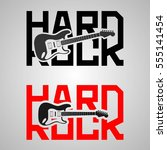 set of two hard rock lettering... | Shutterstock .eps vector #555141454