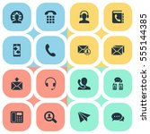 set of 16 simple contact icons. ...   Shutterstock .eps vector #555144385