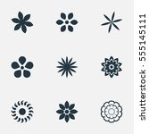 set of 9 simple blossom icons.... | Shutterstock .eps vector #555145111