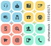 set of 16 simple connect icons. ... | Shutterstock .eps vector #555145171