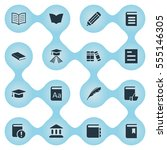 set of 16 simple reading icons. ... | Shutterstock .eps vector #555146305