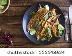 indian mackerel fish fry with... | Shutterstock . vector #555148624