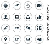 set of 16 simple media icons.... | Shutterstock . vector #555159949