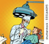 dentist treats teeth boy. pop... | Shutterstock .eps vector #555164095