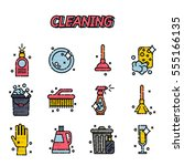 cleaning flat icons set | Shutterstock .eps vector #555166135