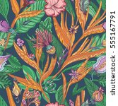 vector tropical floral pattern  ... | Shutterstock .eps vector #555167791
