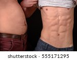 two friends showing paunchy and ... | Shutterstock . vector #555171295