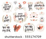 valentine's day hand drawn... | Shutterstock .eps vector #555174709