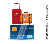 travel credit card baggage... | Shutterstock .eps vector #555180841