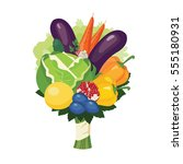 colorful bouquet of fruits ... | Shutterstock . vector #555180931