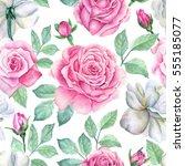 watercolor flower pattern | Shutterstock . vector #555185077