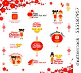 chinese new year icons and...   Shutterstock .eps vector #555187957