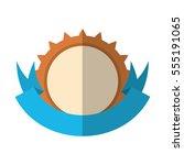 shield wheel gear blue ribbon... | Shutterstock .eps vector #555191065