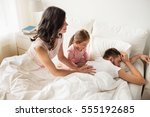 people  family and morning... | Shutterstock . vector #555192685