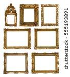 collection of golden frames... | Shutterstock . vector #555193891