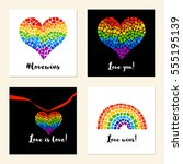 set of cards with mosaic hearts ... | Shutterstock .eps vector #555195139