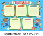 school timetable schedule ... | Shutterstock .eps vector #555197344