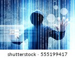 computer hacker or cyber attack ... | Shutterstock . vector #555199417