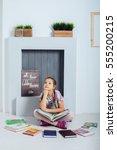 the child thinks schoolgirl... | Shutterstock . vector #555200215