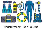 scuba diving icons | Shutterstock .eps vector #555203305