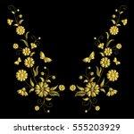 embroidery crewel golden flower ... | Shutterstock .eps vector #555203929