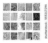 set hand drawn striped pattern. ... | Shutterstock .eps vector #555217294