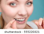 oral hygiene and health care.... | Shutterstock . vector #555220321
