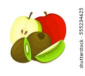 composition of juicy apple and... | Shutterstock .eps vector #555234625
