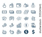 Vector Set Of Money Line Icons