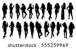 girl black silhouettes taking... | Shutterstock .eps vector #555259969
