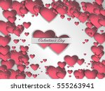 valentine's day. 3d paper heart ... | Shutterstock .eps vector #555263941