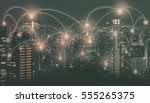 light of city at night and... | Shutterstock . vector #555265375