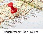 Close Up Of New York Usa Map...