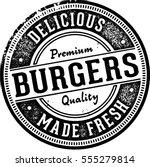 premium burgers vintage sign... | Shutterstock .eps vector #555279814