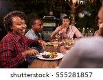Adult Black Family Enjoy Dinner ...