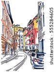 street sketch | Shutterstock .eps vector #555284605