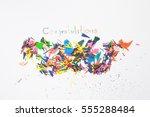 sharpening shavings  on white... | Shutterstock . vector #555288484