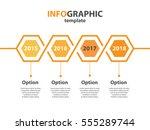 infogaphic timeline diagram.... | Shutterstock .eps vector #555289744