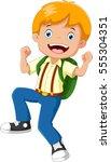happy school boy with backpack   Shutterstock . vector #555304351