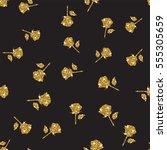 gold glittering peony seamless... | Shutterstock .eps vector #555305659