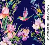 seamless pattern .irises... | Shutterstock . vector #555309649