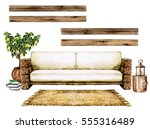 living room interior with... | Shutterstock . vector #555316489