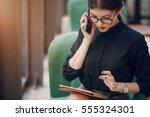 beautiful business lady...   Shutterstock . vector #555324301