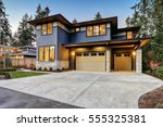 luxurious new construction home ... | Shutterstock . vector #555325381