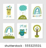 set of cute creative card... | Shutterstock .eps vector #555325531