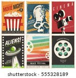 cinema posters collection with... | Shutterstock .eps vector #555328189