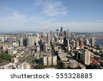 scenic view of seattle ... | Shutterstock . vector #555328885