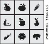 set of 9 editable kitchenware... | Shutterstock . vector #555331471