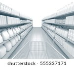 empty shelves in the... | Shutterstock . vector #555337171